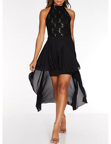preiswerte Kleider für besondere Anlässe-Eng anliegend Stehkragen Asymmetrisch Chiffon Kleid mit Spitzeneinsatz durch LAN TING Express