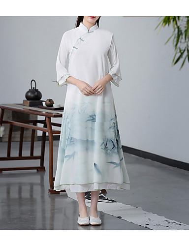 levne Maxi šaty-Dámské Elegantní A Line Šaty - Barevné bloky Maxi Stojáček