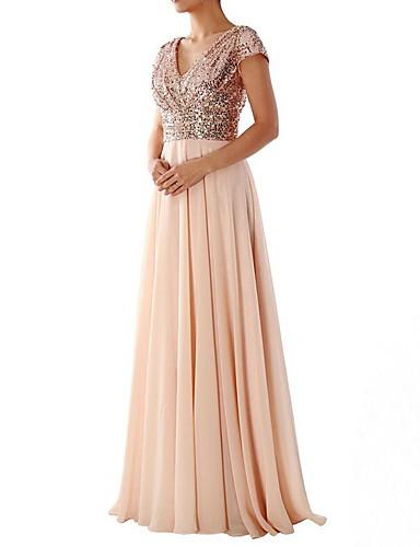 levne Maxi šaty-Dámské Základní Elegantní Šifón Šaty - Jednobarevné, Flitry Maxi