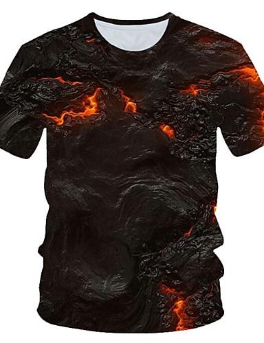 Homens Camiseta Moda de Rua / Exagerado Estampado, Estampa Colorida / 3D / Gráfico Marron