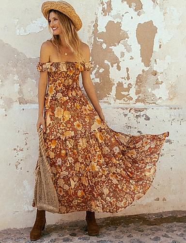 preiswerte Für Junge Frauen-Damen Swing Kleid Kurzarm Blumen Schulterfrei Elegant Schwarz Orange S M L XL / Maxi