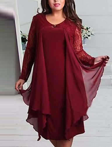 preiswerte Übergrössen-Damen-Damen Grundlegend Hülle Kleid Solide Knielang