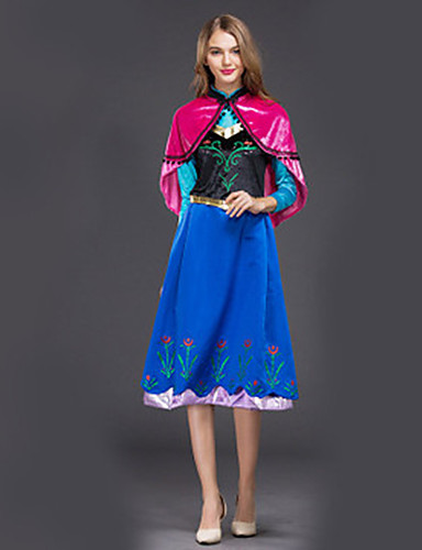 cheap Movie & TV Theme Costumes-Anna Dress Outfits Masquerade Women's Movie Cosplay Cosplay Halloween Blue Dress Shawl Halloween Carnival Masquerade Polyster