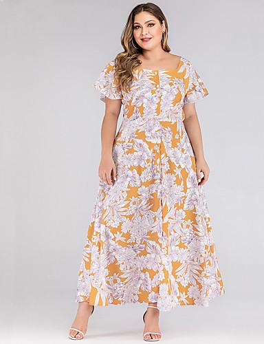 levne Maxi šaty-Dámské Základní A Line Pouzdro Šaty - Květinový, Tisk Maxi