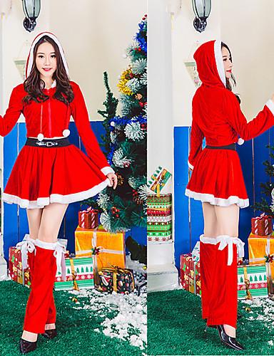 preiswerte Weihnachten Kostüme-FrauClaus Kleid Damen Erwachsene Kostüm-Party Weihnachten Weihnachten Samt Kleid / Gürtel