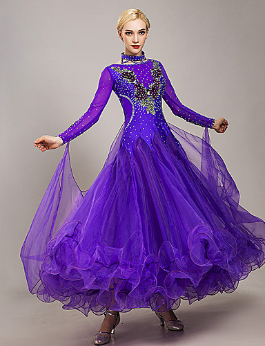 cheap Ballroom Dancewear-Ballroom Dance Dress Embroidery Appliques Crystals / Rhinestones Women's Training Performance Long Sleeve Tulle Ice Silk