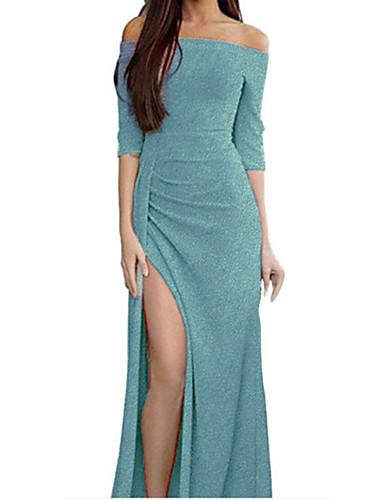 levne Maxi šaty-Dámské 1920s Elegantní Flapper Šaty - Jednobarevné Asymetrické Do V Gatsby
