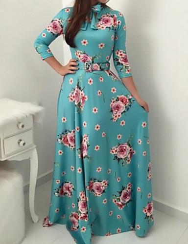 levne Maxi šaty-Dámské Elegantní Swing Šaty - Květinový Maxi