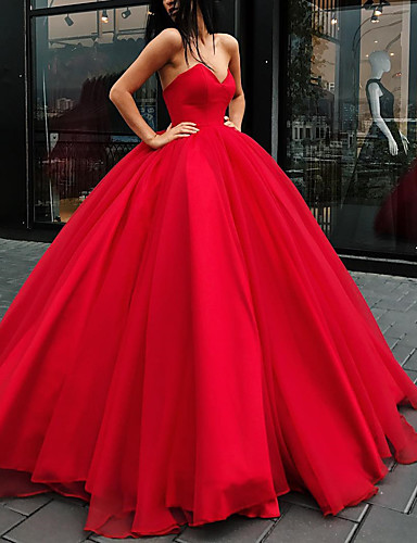 cheap Wedding Dresses-Ball Gown Wedding Dresses Strapless Floor Length Organza Strapless Plus Size Wedding Dress Red with Draping 2020