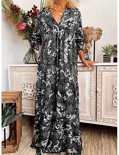 levne Maxi šaty-Dámské Elegantní Shift Šaty - Kamuflážní barva Maxi