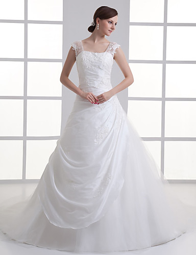 cheap Wedding Dresses-A-Line Square Neck Court Train Taffeta / Tulle Regular Straps Wedding Dresses with Buttons / Ruched / Beading 2020