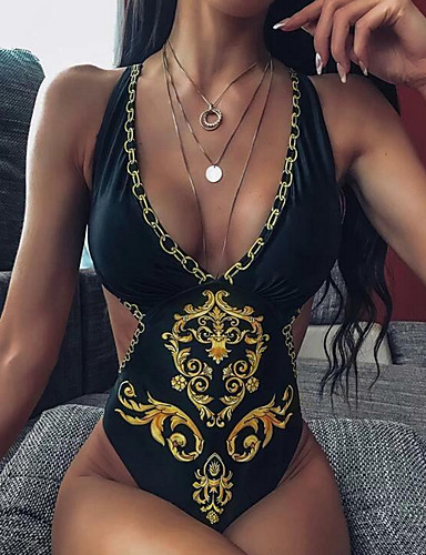 cheap Women's Swimwear-Women's One-piece Swimwear Swimsuit - Geometric S M L Black Yellow