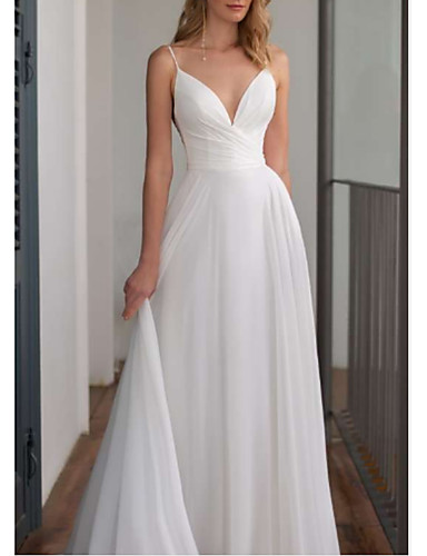cheap Wedding Dresses-A-Line V Neck Floor Length Chiffon Spaghetti Strap Wedding Dresses with Draping 2020