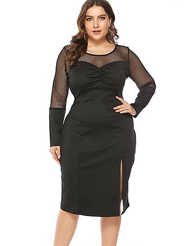 levne Šaty velkých velikostí-Dámské Základní Little Black Šaty - Jednobarevné, Síťka Délka ke kolenům