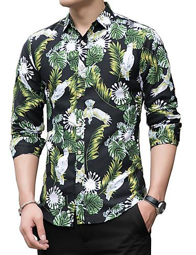 levne Pánské košile-Pánské - Květinový Základní Košile, Tisk Černá