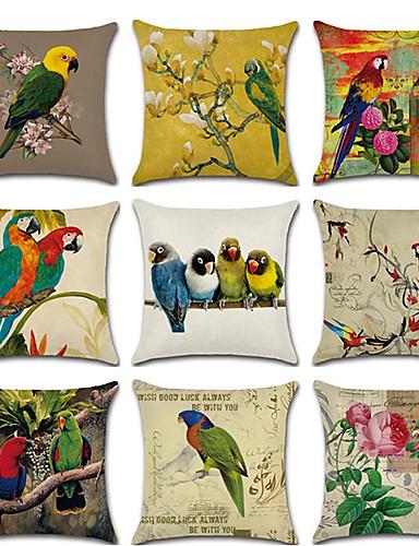 cheap Cushion Covers-Set of 9 Linen Pillow Cover, Floral Bird Rustic Cartoon Throw Pillow