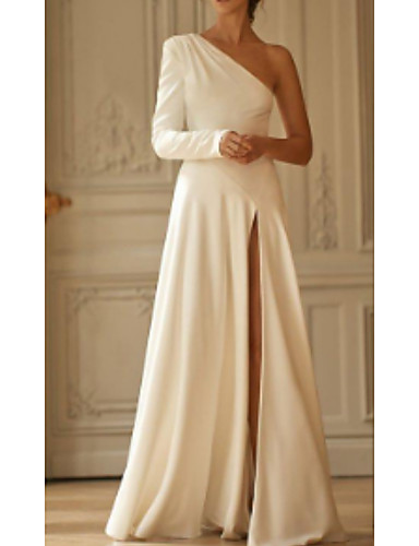 cheap Wedding Dresses-A-Line Wedding Dresses One Shoulder Sweep / Brush Train Stretch Satin Long Sleeve Simple Modern with Draping Split Front 2020
