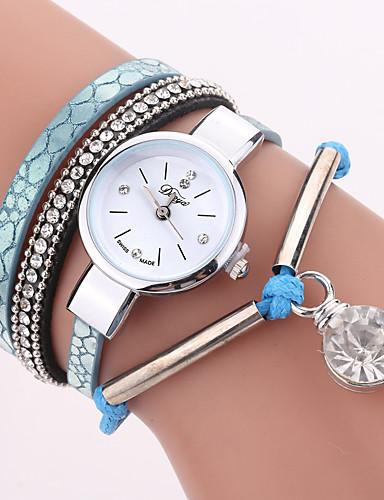 Mulheres Bracele Relógio Zircônia Cubica Amuleto Casual Azul Vermelho Couro PU Chinês Quartzo Azul Vermelho Relógio Casual imitação de diamante 1 Pça. Analógico Um ano Ciclo de Vida da Bateria