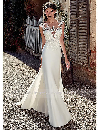 cheap Wedding Dresses-A-Line Bateau Neck Court Train Chiffon / Lace / Tulle Cap Sleeve Illusion Detail / Backless Wedding Dresses with Lace / Appliques 2020