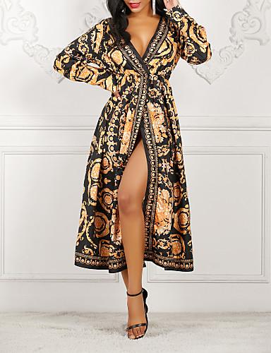 Mulheres balanço Vestido Abstrato Longo