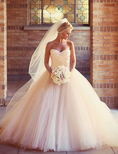 cheap Wedding Dresses-Ball Gown Strapless Court Train Tulle Strapless Formal Little White Dress Wedding Dresses with Ruched 2020