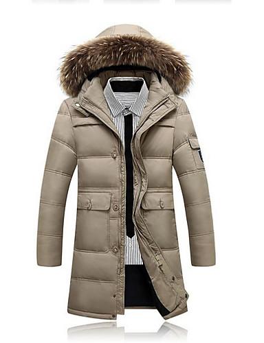 levne Pánské kabáty a parky-Pánské Jednobarevné Dlouhý kabát, Polyester Černá / Armádní zelená / Béžová US32 / UK32 / EU40 / US34 / UK34 / EU42 / US36 / UK36 / EU44