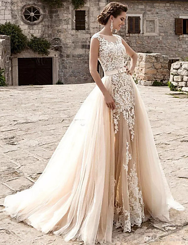 cheap Wedding Dresses-Mermaid / Trumpet Jewel Neck Court Train Lace / Tulle Cap Sleeve Modern / Detachable Wedding Dresses with Appliques 2020