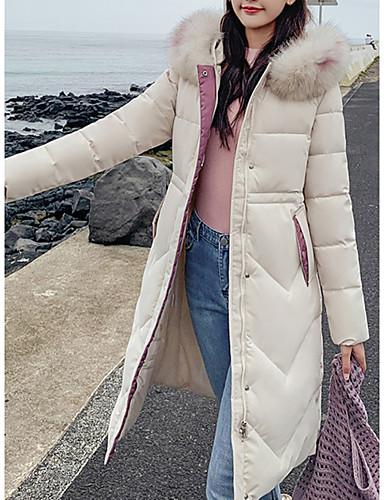 levne Dámské parky a paleta-Dámské Jednobarevné Dlouhé Dlouhý kabát, Bavlna Černá / Bílá / Dusty Rose M / L / XL