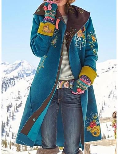 preiswerte Neu Eingetroffen-Damen Alltag Grundlegend Winter Lang Mantel, Pflanzen Umlegekragen Langarm Polyester Wein / Braun / Grün