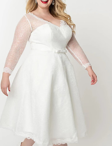 cheap Wedding Dresses-A-Line V Neck Knee Length Lace / Satin / Tulle Long Sleeve Vintage Little White Dress / 1950s / Illusion Sleeve Wedding Dresses with Bow(s) / Appliques 2020