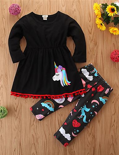billige Babyudstyr-Baby Pige Afslappet Basale Sport I-byen-tøj Unicorn Dyr Dyre Mønster Printer Langærmet Normal Normal Bomuld Tøjsæt Sort / Sødt