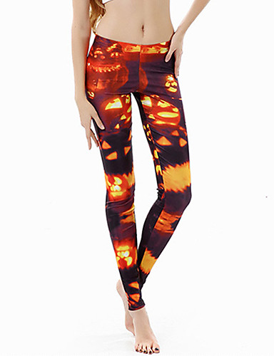 preiswerte Hosen & Röcke für Damen-Damen Alltagskleidung / Yoga Sportlich / Grundlegend Legging - Geometrisch, Druck Mittlere Taillenlinie Orange S M L