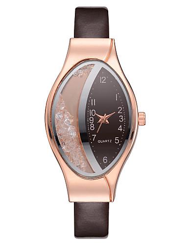 Mulheres Relógios de Quartzo pequeno diamante Casual Elegante Marrom Couro PU Chinês Quartzo Marron Relógio Casual imitação de diamante 1 Pça. Analógico Um ano Ciclo de Vida da Bateria