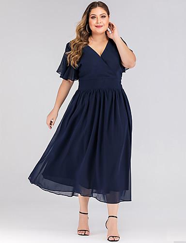 levne Šaty velkých velikostí-Dámské Základní Pouzdro Šaty - Jednobarevné, Volány Midi Modrá