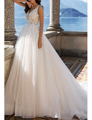 cheap Wedding Dresses-A-Line V Neck Sweep / Brush Train Tulle / Charmeuse Regular Straps Illusion Sleeve Wedding Dresses with Draping / Appliques 2020