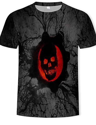 Homens Camiseta Moda de Rua / Punk & Góticas Estampado, Geométrica / Estampa Colorida / Animal Preto