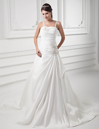 cheap Wedding Dresses-A-Line Square Neck Court Train Satin / Taffeta Spaghetti Strap Wedding Dresses with Ruched / Beading / Draping 2020