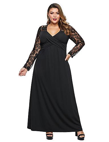 levne Šaty velkých velikostí-Dámské Základní Pouzdro Šaty - Jednobarevné, Krajka Maxi