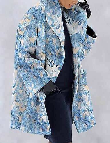 levne Dámské kabáty a trenčkoty-Dámské Denní Podzim zima Dlouhé Kabát, Geometrický Polostojatý límec Dlouhý rukáv Polyester Světlá růžová / Vodní modrá