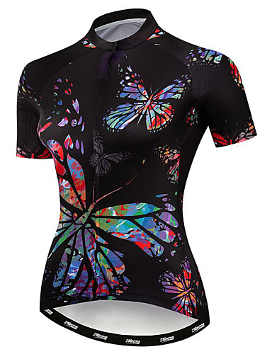 cheap Cycling-21Grams Women's Short Sleeve Cycling Jersey Summer Elastane Polyester Black Butterfly Bike Jersey Top Mountain Bike MTB Road Bike Cycling Quick Dry Moisture Wicking Breathable Sports Clothing Apparel