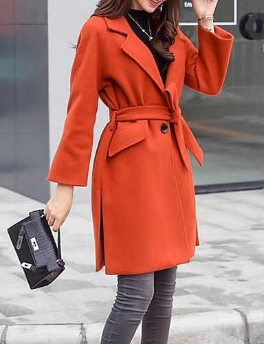 levne Dámské kabáty a trenčkoty-Dámské Denní Podzim zima Dlouhé Kabát, Jednobarevné Klasické klopy Dlouhý rukáv Polyester Oranžová