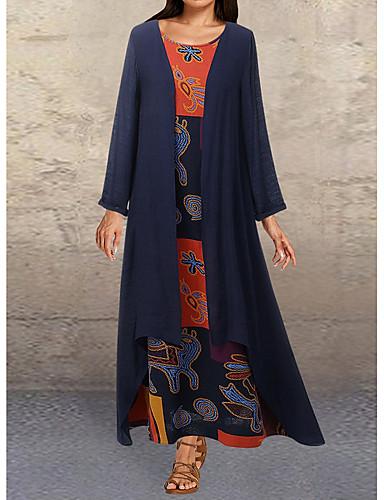 levne Maxi šaty-Dámské Elegantní Dvoudílné Šaty - Květinový Maxi