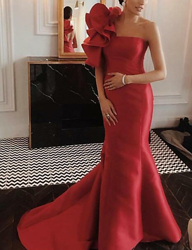 cheap Wedding Dresses-Mermaid / Trumpet One Shoulder Court Train Satin Floral / Red Engagement / Formal Evening Dress with Ruffles 2020