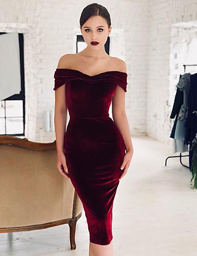 levne Maxi šaty-Dámské Elegantní Bodycon Šaty - Jednobarevné Maxi