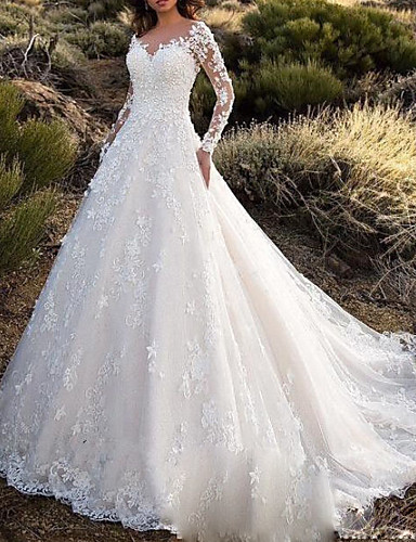 cheap Wedding Dresses-A-Line V Neck Court Train Lace / Tulle Long Sleeve Sexy Backless / Illusion Sleeve Wedding Dresses with Buttons 2020