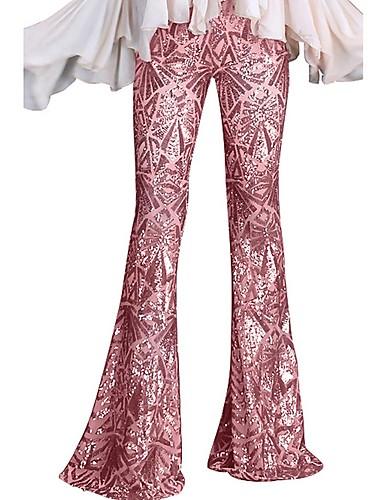 preiswerte Hosen & Röcke für Damen-Damen Grundlegend Breites Bein Hose - Druck Schwarz Rosa Blau S M L