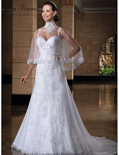 cheap Wedding Dresses-Mermaid / Trumpet Jewel Neck Court Train Lace / Tulle Regular Straps Sexy Wedding Dresses with Appliques 2020 / Yes