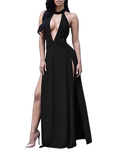 levne Maxi šaty-Dámské Šik ven Elegantní Bodycon Pouzdro Swing Šaty - Jednobarevné, Volná záda Vystřižený Rozparek Maxi