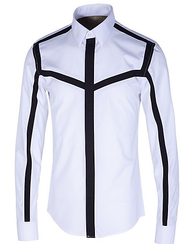 levne Pánské košile-Pánské - Proužky Košile Černá