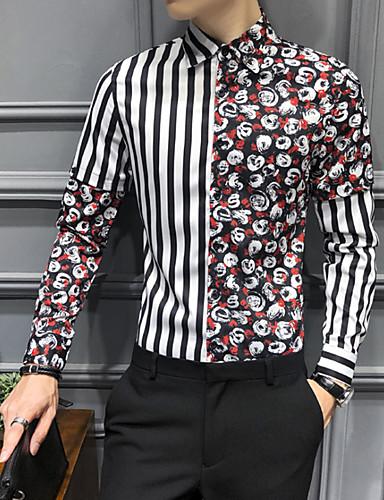 Homens Camisa Social Listrado / Gráfico Preto